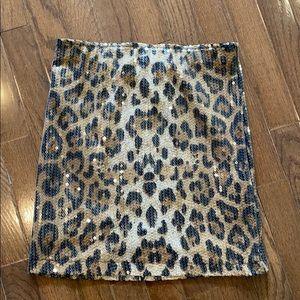 Pippa Lynn Leopard Sequin Skirt Size Medium